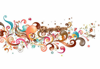 Colorful Glossy Trend of Swirls & Splashed Decoration - бесплатный vector #170665