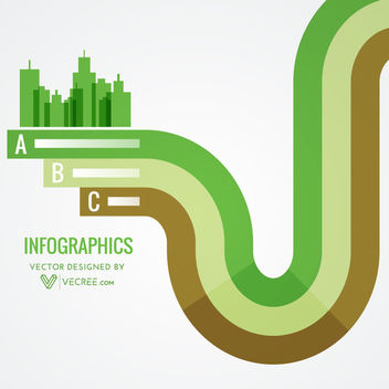 Abstract Green City on Stripy Lines Infographic - vector gratuit #170675