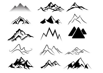 Black & White Abstract Mountains Pack - Free vector #170755