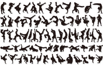 Hip Hop Boys Cool Dancer Pack Silhouette - vector gratuit #170795