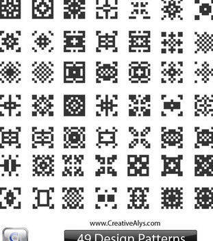Black & White Abstract QR Pattern Set - Free vector #170855