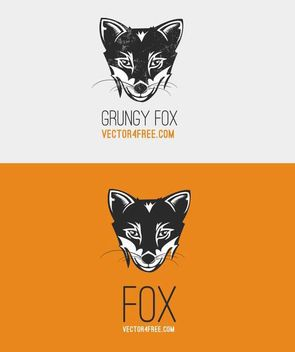 Black and White Fox Head - vector gratuit #170875