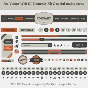 Vintage UI Kit and Social Media Icons - vector gratuit #170885