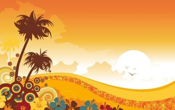 Sunset with Florals and Swirls - Kostenloses vector #171115
