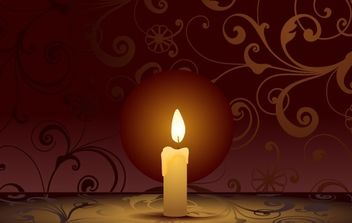Candle on decorative background - vector gratuit #171295