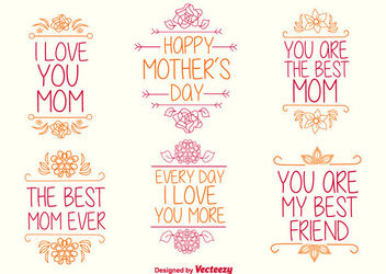 Hand Drawn Mother's Day Typographies - vector gratuit #171455