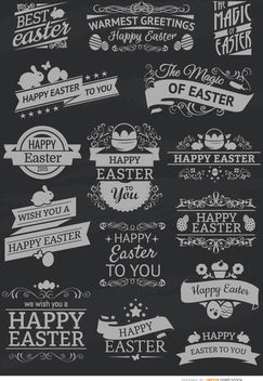 15 Easter chalk emblems - бесплатный vector #171495