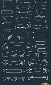 26 Doodle ribbons in many shapes - бесплатный vector #171505