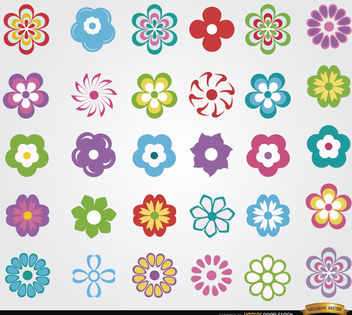 30 Flowers icon set - vector gratuit #171535
