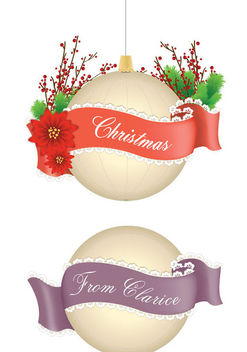 Decorative Christmas Balls with Ribbon Lace - Free vector #171555