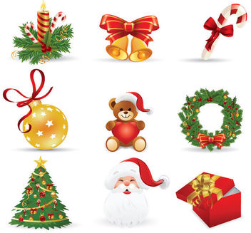 3D Funky Style Christmas Icon Set - Free vector #171575