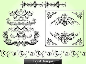 Floral Swirls and Ornament Pack - Free vector #171635