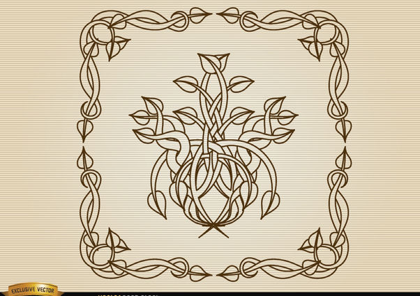 Coiled stems decoration frame - Free vector #171655