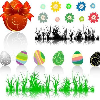 Easter Decorative Element Set - vector gratuit #171705