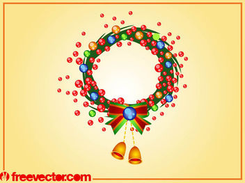 Rounded Swirly Christmas Wreath - Free vector #171835