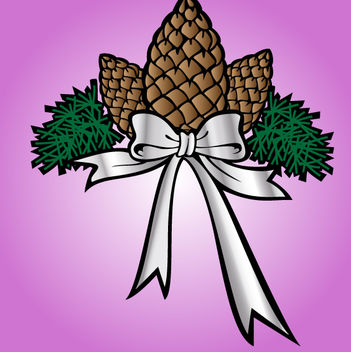 Decorative Xmas Flower with Ribbon - vector gratuit #171845