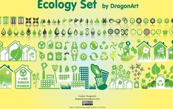 Green Creative Ecology Icon Set - vector gratuit #171915
