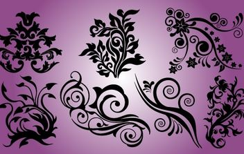 Smooth and Curved Floral Element Set - бесплатный vector #171925