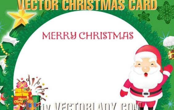 Rounded Christmas Postcard Template - Free vector #171945