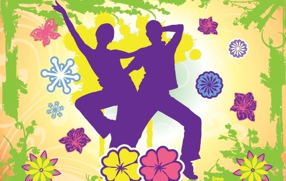 Happy Dancing Couple with Nature Frame - Free vector #171985