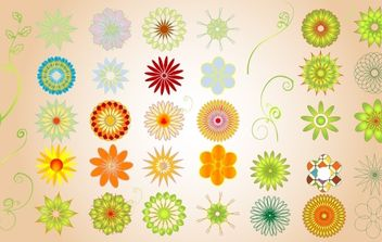 Colorful Floral Shape Pack - vector gratuit #172055