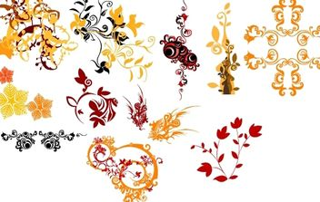 Colorful Floral and Decorative Ornaments - Free vector #172155