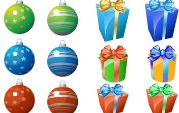 CHRISTMAS ORNAMENT AND GIFT ICONS - vector gratuit #172515