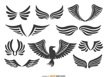 Fenix Bird and Wings Set - бесплатный vector #172875