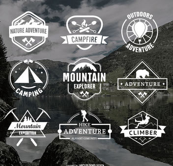 Retro Camping Logos and Hiking Badges Emblems - vector #172885 gratis