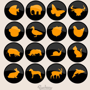 Silhouette Animals Black Circular Buttons - бесплатный vector #172915