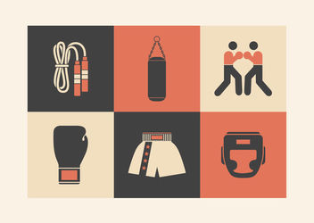 Minimal Retro Boxing Icon Pack - Free vector #172925