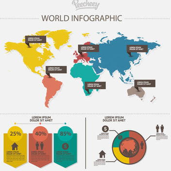 Communication World Map Infographic - Kostenloses vector #172945