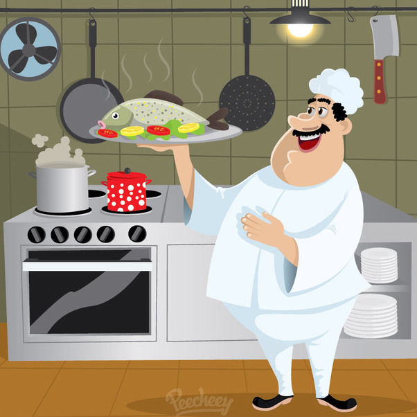Chef Cartoon Character Kitchen - Free vector #172995