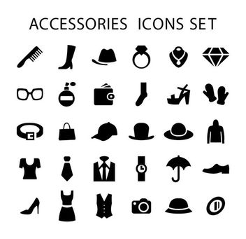 Men Women Fashion Accessories Icons - vector gratuit #173005