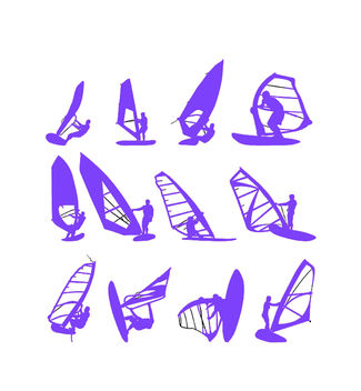 Windsurfing Sports Pack Silhouette - Free vector #173035
