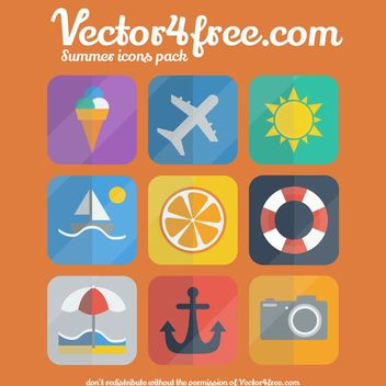 Flat Summer Icon Set on Rounded Corner Square - Kostenloses vector #173125