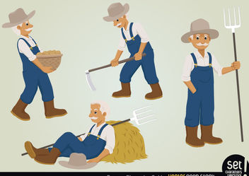 Farmer Character Set - vector gratuit #173465