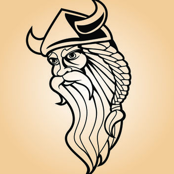 Viking Warrior Line Art - Free vector #173575