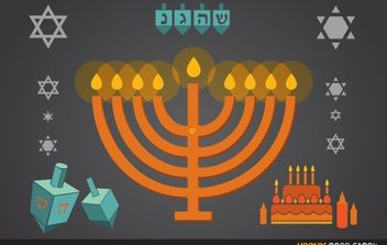 Hanukkah candles, stars, dreidel and more - Free vector #173735