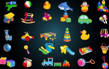 Cute Baby Toys Icon Pack - vector #173775 gratis