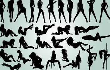 Girls Dancing Striptease Pack Silhouette - Free vector #173885