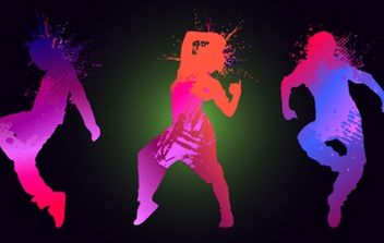 Grungy Silhouette Dancing Peoples - Free vector #173955