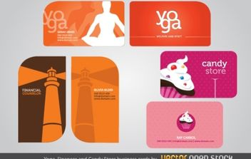 Yoga, Finances and Candy Store business cards - vector gratuit #173985