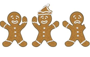 three gingerbread men for christmas cards / koekmannen voor kerstkaarten - vector #174015 gratis