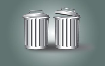 Trash Can Gray Metallic - vector #174105 gratis
