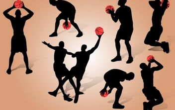 Basketball Playing Pack Silhouette - vector gratuit #174145