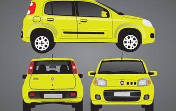 Yellow Novo Uno Car Set - vector gratuit #174195
