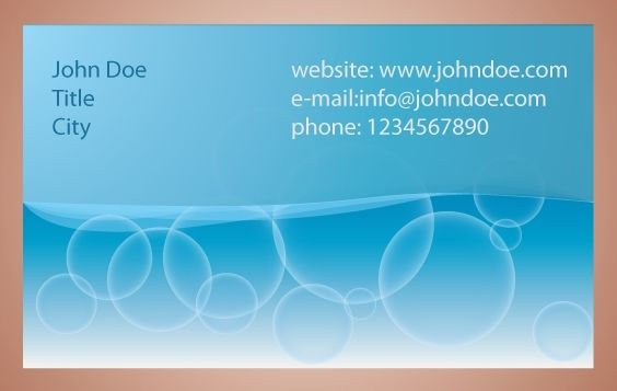 Blue Bubbles Business Card - Free vector #174255