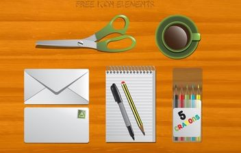 Office Stationary Vector - vector gratuit #174355