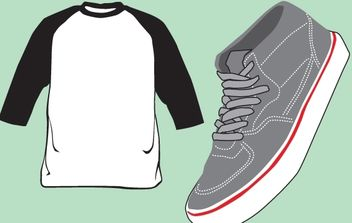 Blank T-Shirt and Shoe Vector - Free vector #174515